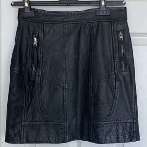 All Saints leather edgy skirt